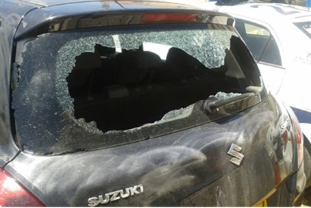 The officer's car after the attack