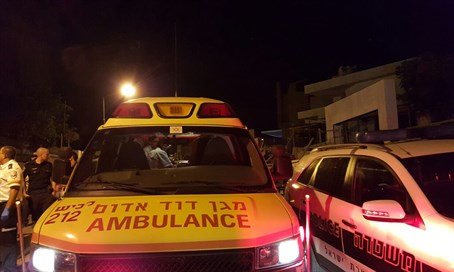 Ambulance at scene of Gan Yavne fire