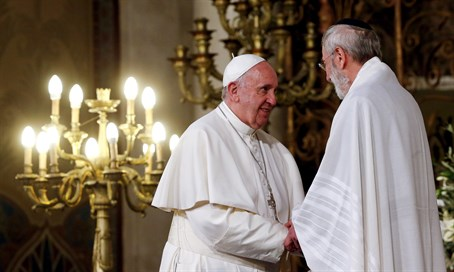 Pope Francis and Rabbi Riccardo Di Segni at Rome's Great Synagogue
