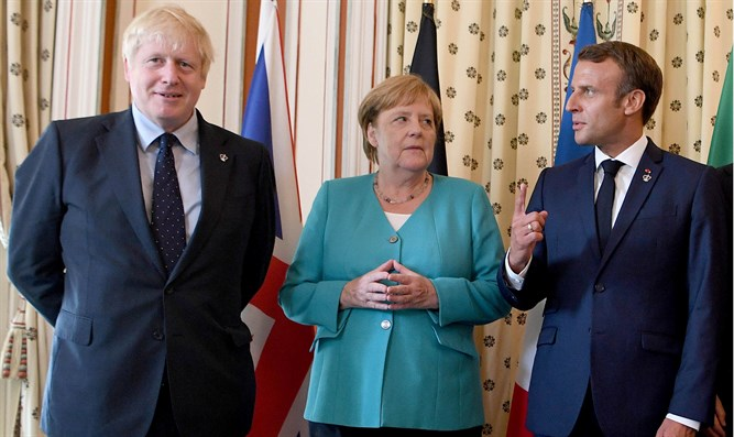 Boris Johnson, Angela Merkel and Emmanuel Macron
