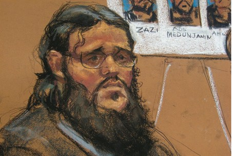 Adis Medunjanin in courtroom sketch