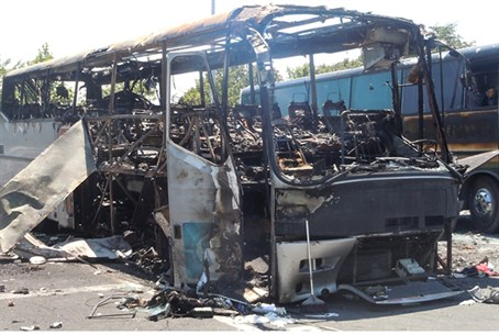 Destroyed bus  in Burgas