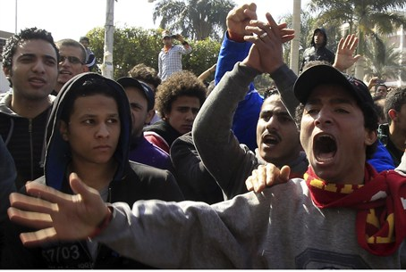 demonstrators in Cairo