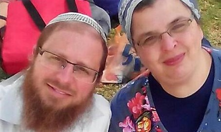 Rabbi Ya'akov Litman and his wife, who was wounded