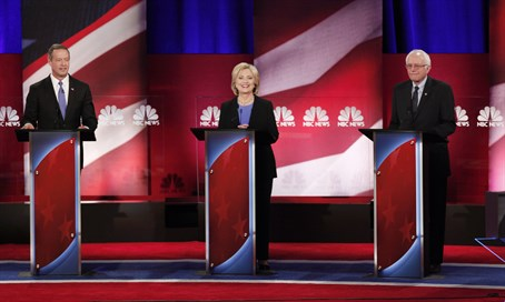 Presidential candidates (L-R) O'Malley, Clinton and Sanders at debate