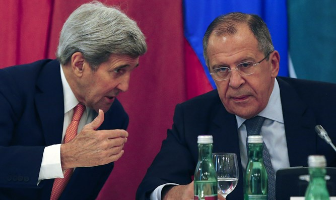 John Kerry and Sergei Lavrov at meeting in Vienna on Syria