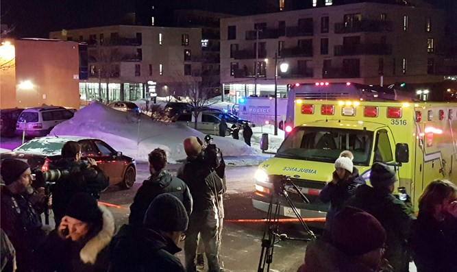 Scene of shooting at the Quebec Islamic Cultural Centre in Quebec