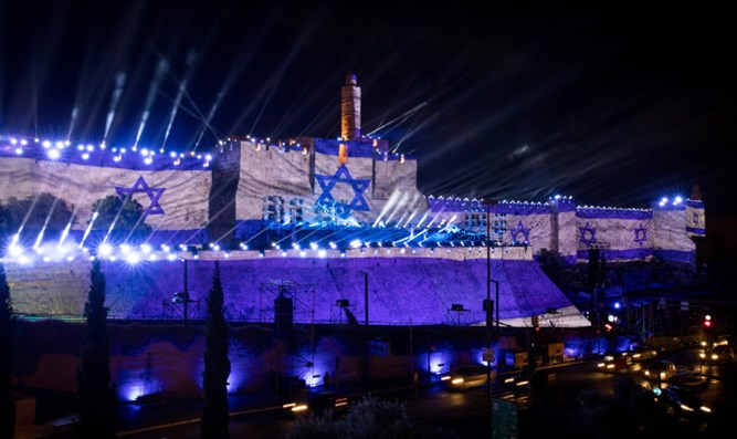 Light and sound show on walls of Jerusalem's Old City