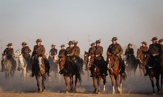 Horsemen from Australia and New Zealand participate in Reenactment of Cavalry Charge in Be