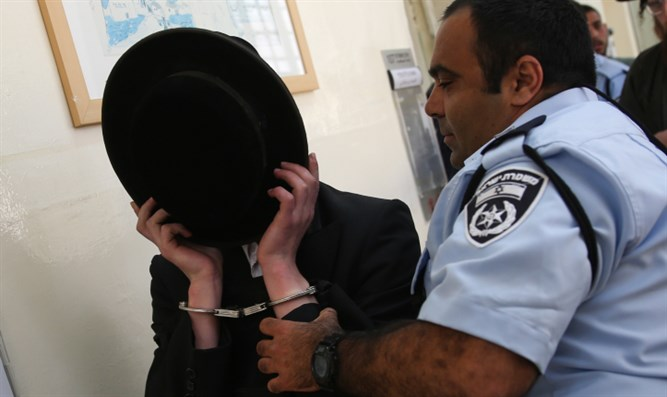 Police arresting haredi man (illustration0