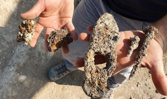 The 1,400 year-old iron hammer and nails that were found at Usha.